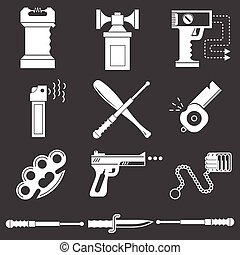White icons vector collection of self-defense - Set of white...