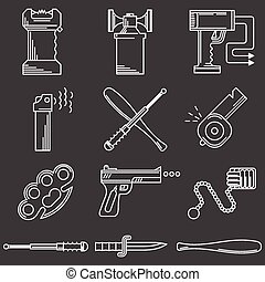 Flat line icons vector collection of self-defense accessory...