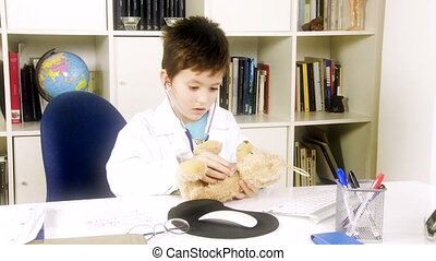 Future young doctor visiting plush - Cute boy doctor...