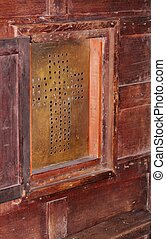confession box  - confessional box brass screen division