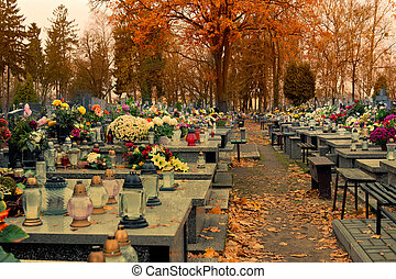 cemetery - Old cemetery in the Polish town