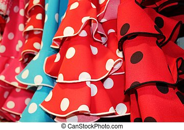 Spanish flamenco skirt ruffles polka dots
