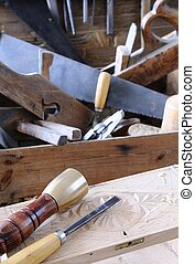 Carpenter tools. - Carpenter tools on a work bench...