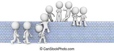 Team Building. - The dude 3D character x9 on climbing up on...
