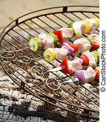 Ham Shish Kabobs - Ham Kabobs Cooking On The Grill