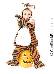 Toddler wears Tiger Costume