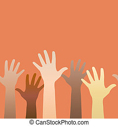 Hands raised up. Concept of volunteerism, multi-ethnicity,...