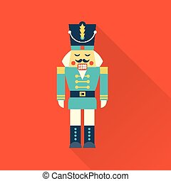christmas nutcracker - vector simple icon of a christmas...