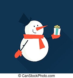 snow man with a gift - vector simple flat illustration of a...