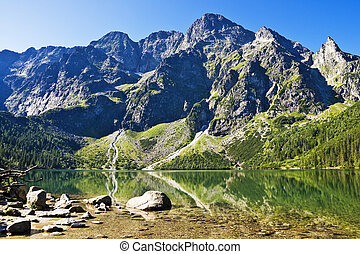 Peaks above the valley Sea Eye The Polish Tatras