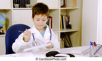 Serious very young doctor working
