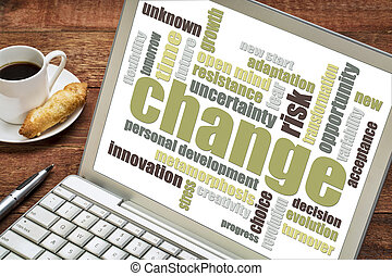 change word cloud on laptop screen with a cup of coffee
