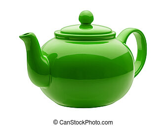 Angled Green Teapot - Angled Green Ceramic Teapot isolated...
