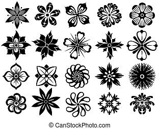 Set of Vector Flowers - Flowers symbols