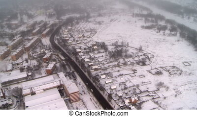 Winter in township. Top view of rural landscape - Winter in...