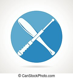 Batons flat vector icon - Blue round vector icon with white...
