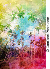 watercolor retro palm grove - wonderful watercolor retro...
