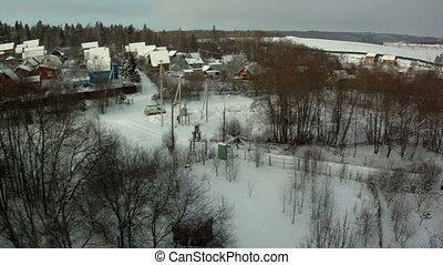 Top view of snowbound township - Top view of snowbound...