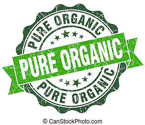 pure organic green vintage seal isolated on white