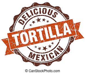 tortilla brown vintage seal isolated on white