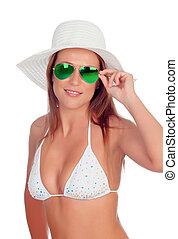 Blonde woman in bikini with sunglasses