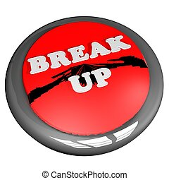 Break up button, isolated over white, 3d render