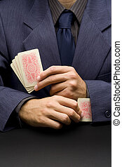 Unfair player - Unfair businessman - metaphor with card...