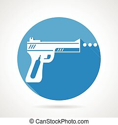 Flat vector icon for airgun - Round blue vector icon with...