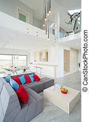New, designed house with grey sofa