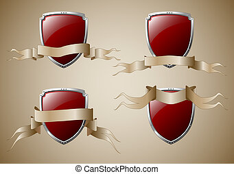 Set of shields with banners - Set of 4 shields with banners...