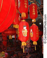 traditional red lanterns - chinese vendor\'s lanterns for...