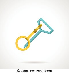 Screw hook and anchor - Flat blue and yellow icon for...