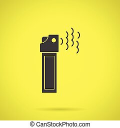 Black teargas can flat vector icon - Flat black silhouette...