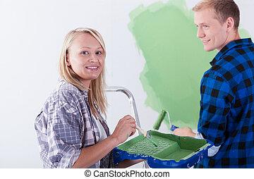 Matrimonio, Pintura, habitación, feliz