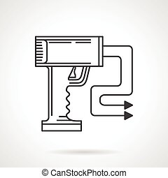 Contour vector icon for stun gun - Flat sketch vector icon...