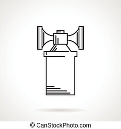 Contour vector icon for air horn - Flat sketch vector icon...