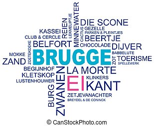 word cloud around bruges, city in belgium, flanders, vector...