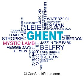 word cloud around ghent, city in belgium, flanders, vector,...