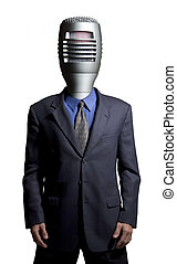 Microphone man - Businessman with a microphone as a head