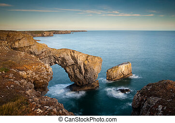 The Green Bridge of Wales. A Natural arch on the...