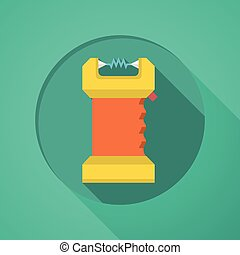 Taser flat color icon - Orange and yellow color electroshock...