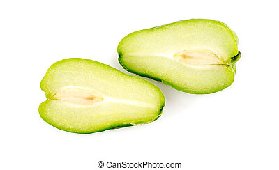 Studio macro of Chayote fruit chopped in half