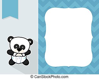 frame baby panda - cute little baby panda with diaper, black...
