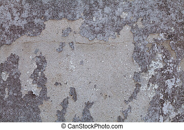 Old white concrete wall. Paint peeling off the walls , old and fungus.