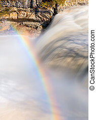Waterfall Rainbow - A rainbow arc over Upper Cataract Falls,...