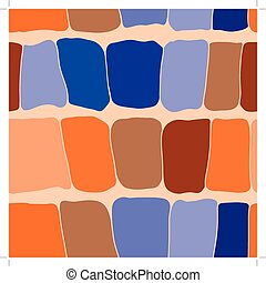 Reptile skin seamless pattern blue and orange spots background.