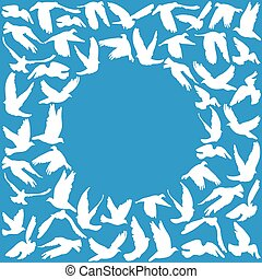 Frame for your text. Flying dove for peace concept and wedding design. white on a blue background.