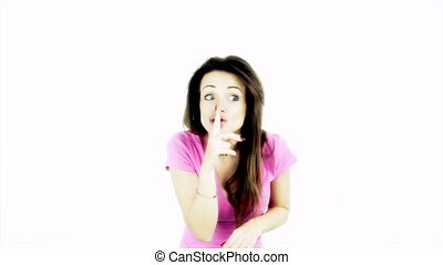 cute woman making silence sign - Super cute woman making...
