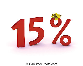 discount 15 - Big Red 15% off promotional sign