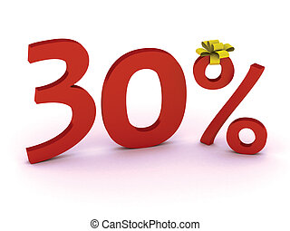 discount 30 - Big Red 30% off promotional sign